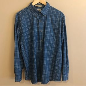 L.L. Bean Blue Plaid Shirt: Large